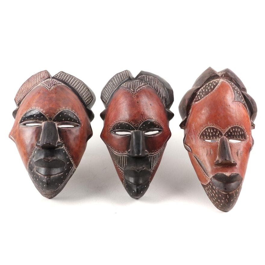 Tikar Style Polychrome Wood Masks, Cameroon
