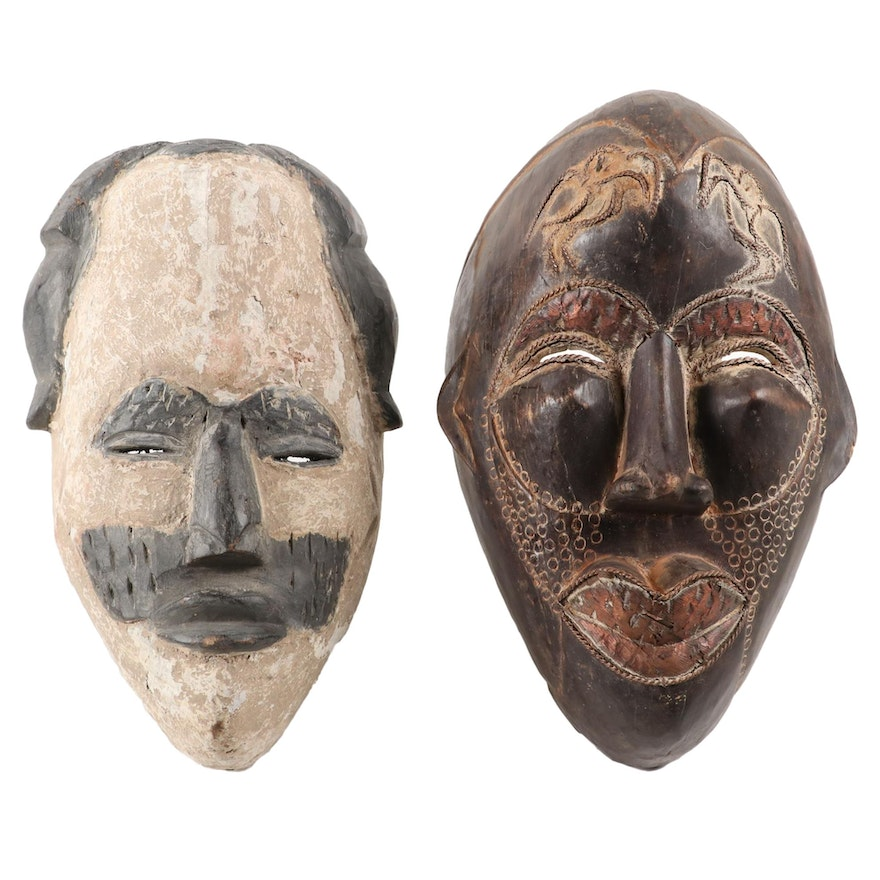 Igbo Style and Tikar Inspired Wood Masks, West and Central Africa
