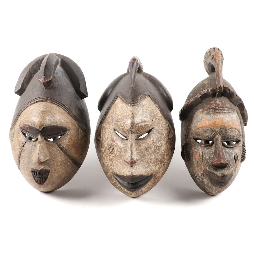 Igbo Style Carved Wood Masks, West Africa