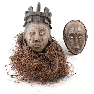 Igbo and Idoma Style Handcrafted Wood Masks, West Africa