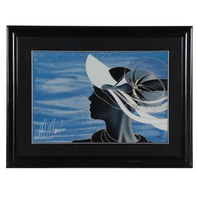 """Martiros Manoukian Embellished Serigraph """"Elegant Profile,"""" Late 20th Century"""