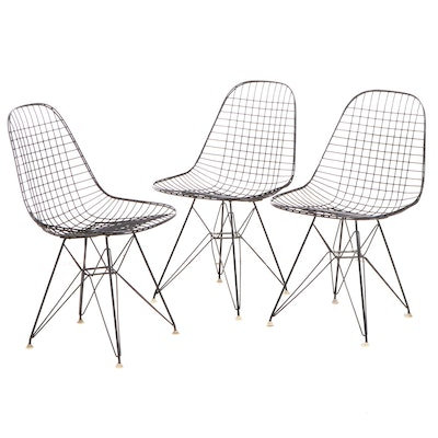 "Three Charles and Ray Eames Third Generation DKR ""Eiffel"" Wire Frame Chairs"