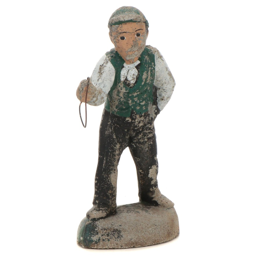 Painted Concrete Lawn Jockey Garden Sculpture