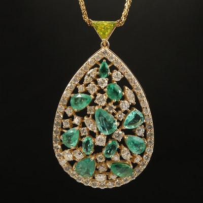14K Emerald and 3.66 CTW Diamond Pendant Necklace