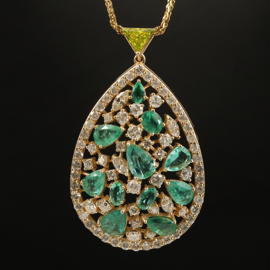 14K Emerald and 3.66 CTW Diamond Pendant Necklace