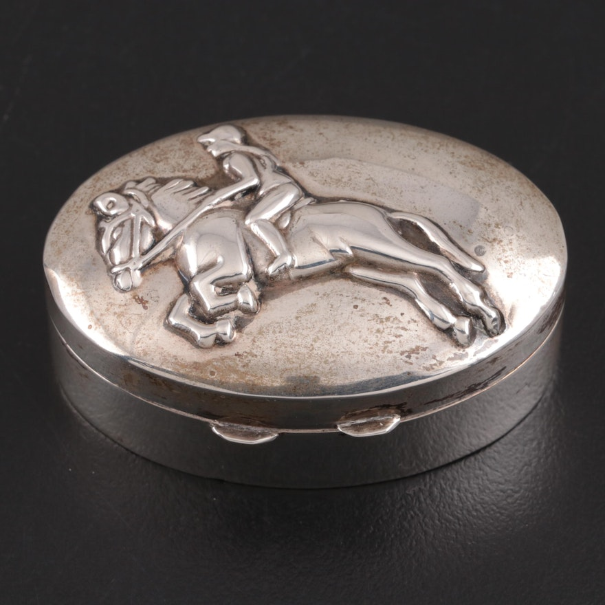 Ari D Norman Horse Show Jumping Chased Sterling Silver Pill Box, 1988