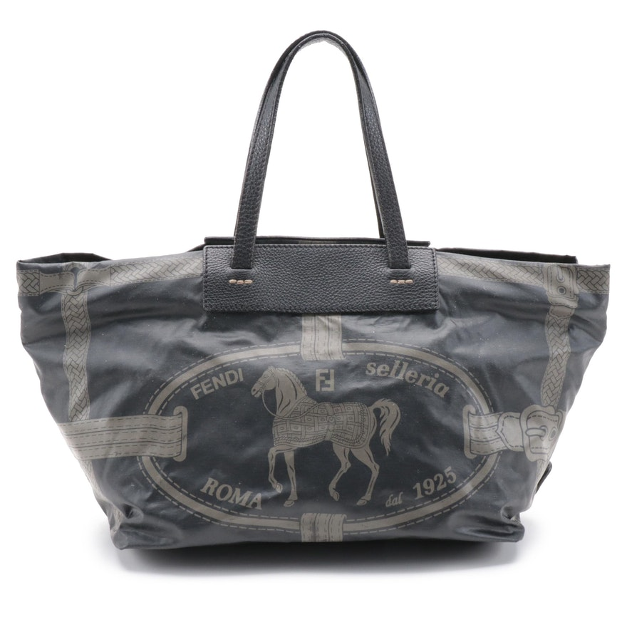Fendi Selleria Horse and Bridle Patterned Tote Bag