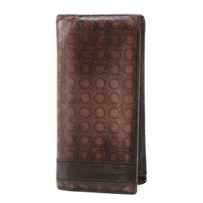 Salvatore Ferragamo Gancini Embossed Brown Leather Wallet
