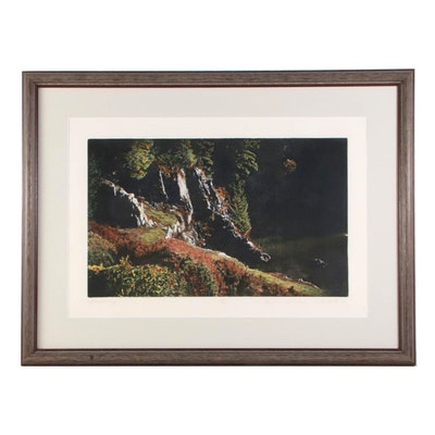 """George Raab Hand-Colored Etching """"Quarry,"""" Late 20th to 21st Century"""