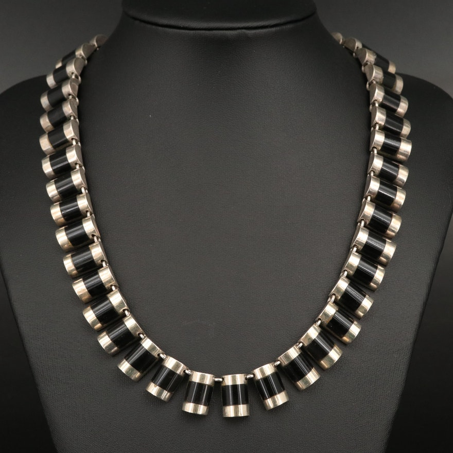 J. Comes Mexican Modernist Sterling Silver Segmented Necklace