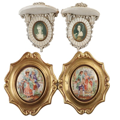 Pair of Gilt Framed Porcelain Plaques and Portrait Bracket Shelves