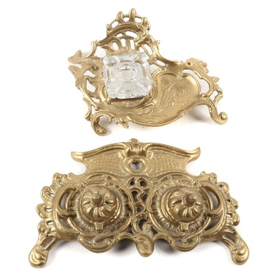 Two Rococo Style Brass Inkwells