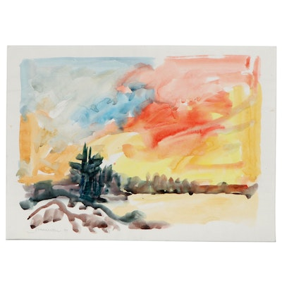 Jack Meanwell Watercolor Painting of Abstract Landscape, 1997
