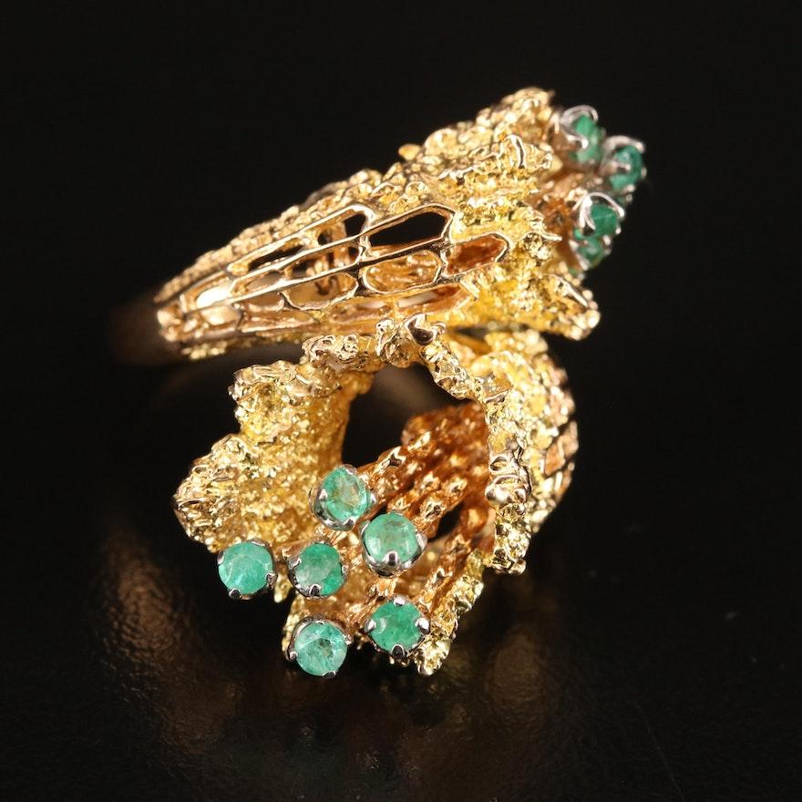 18K Emerald Articulated Bypass Ring