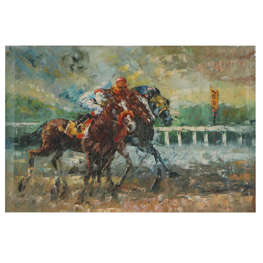 Anthony Veccio Oil Painting of a Horse Race, Late 20th Century