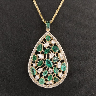 14K 2.94 CTW Diamond and Emerald Pendant Necklace