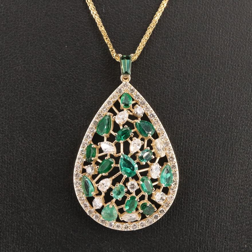 14K 2.94 CTW Diamond and Emerald Pendant Necklace