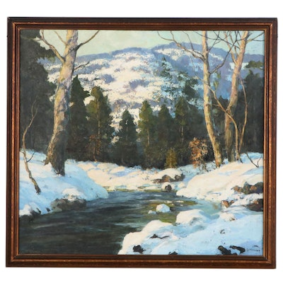 Walter Koeniger Landscape Oil Painting of Snowy Forest, Early 20th Century