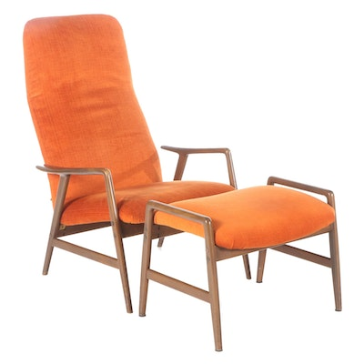 Folke Ohlsson for Dux Swedish Modern Reclining Chair and Ottoman, Circa 1960