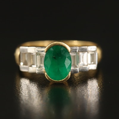 18K 1.18 CT Emerald and Diamond Step Ring