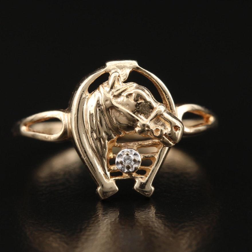 10K Diamond Horse and Horseshoe Ring
