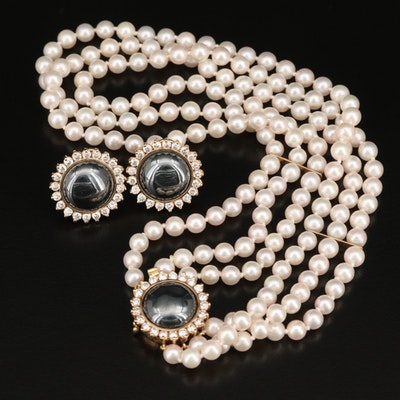 14K Pearl, 2.85 CTW Diamond and Hematite Necklace and Earring Set