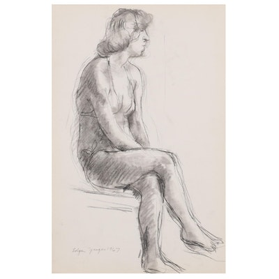 Edgar Yaeger Charcoal Drawing of Seated Woman, 1967