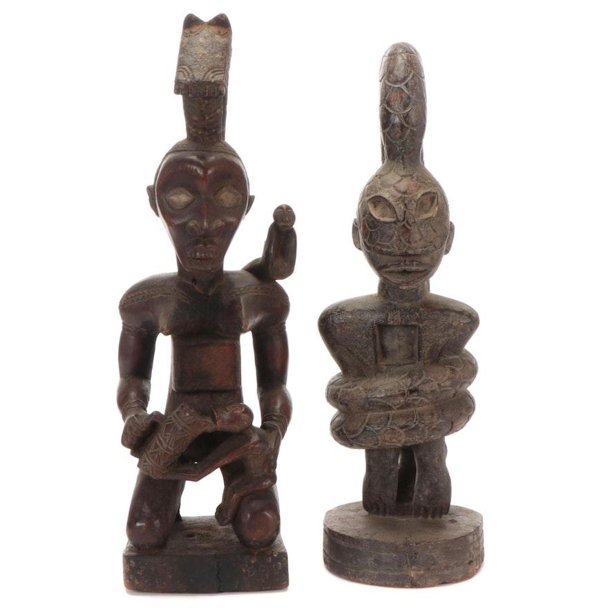 Kongo-Yombe Style Carved Wood Figures, Democratic Republic of Congo