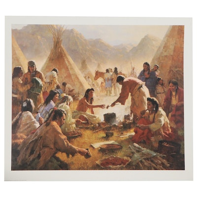 "Offset Lithograph after Howard Terpning ""Old Country Buffet - The Feast,"" 1994"