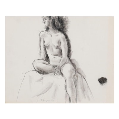 Edgar Yaeger Charcoal Drawing of Seated Woman, 1968