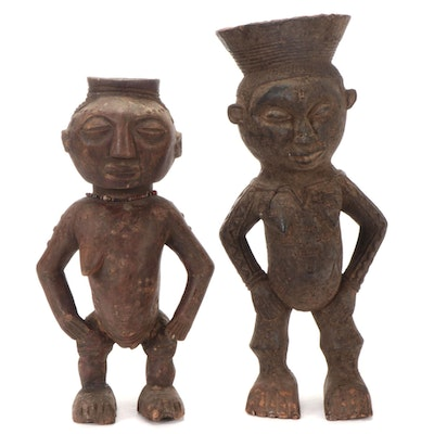 Kuba Inspired Carved Wood Female Figures, Central Africa