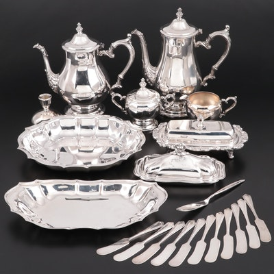 Silver Plate Coffee and Tea Pots with Serveware
