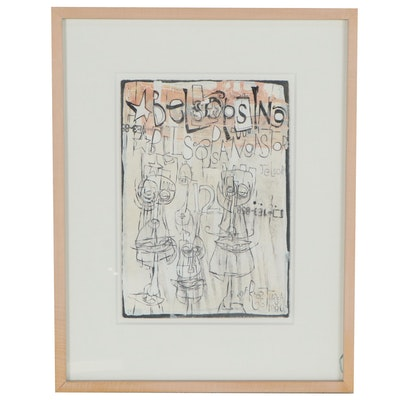 Phil Frost Street Art Style Mixed Drawing of Anthropomorphic Figures, 1996