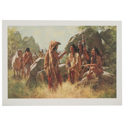 "Howard Terpning Offset Lithograph of Native Americans ""Scout's Report"""