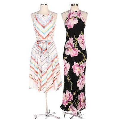 Eci Chevron Striped Dress with Sünde Floral Halter Dress
