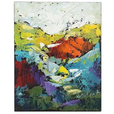 "Natalya Romanovsky Abstract Acrylic Painting ""Land Field 2,"" 21st Century"
