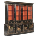 Chinoiserie-Decorated Gilt and Black-Lacquered Breakfront China Cabinet