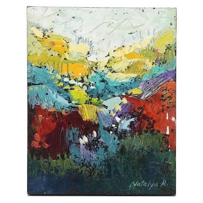 """Natalya Romanovsky Abstract Oil Painting """"Land Field 5"""""""