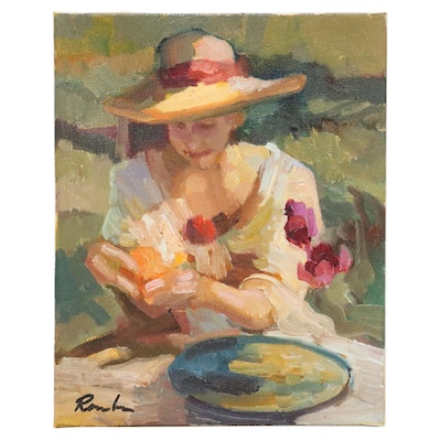 Sally Rosenbaum Oil Painting of Seated Woman in Hat