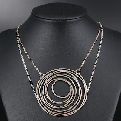 Studio Sterling Silver and Brass Spiral Necklace