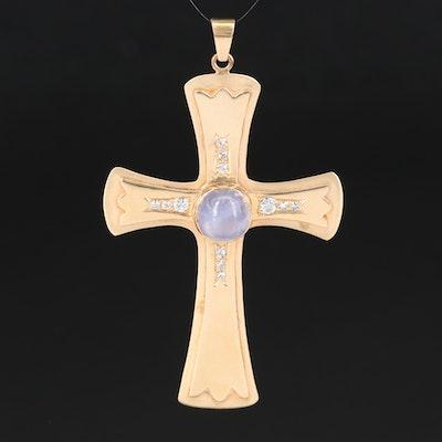 14K 7.34 CT Star Sapphire and Diamond Cross Pendant