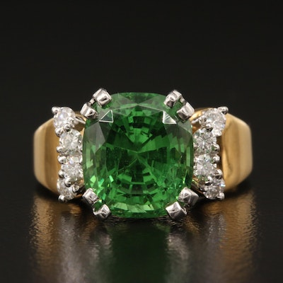 18K 5.96 CT Tsavorite and Diamond Ring with Platinum Settings