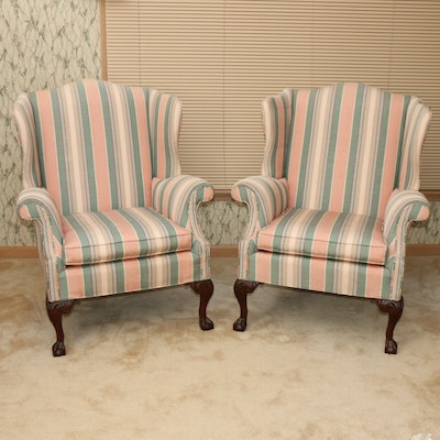 Pair of Queen Anne Style Striped Upholstered Armchairs, Late 20th Century