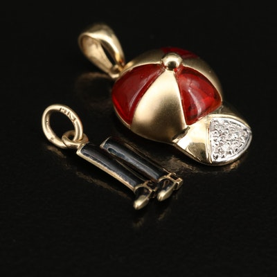 Vintage 14K Diamond and Enamel Jockey Themed Charms