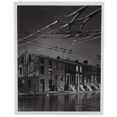 "A. Aubrey Bodine Silver Gelatin Photograph ""Trolley Car Sky,"" circa 1950"