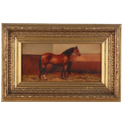G. Roy Oil Painting of Bay Horse, Late 20th Century