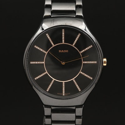 "Rado ""True Thinline"" Diamond Dial and Black Ceramic Quartz Wristwatch"