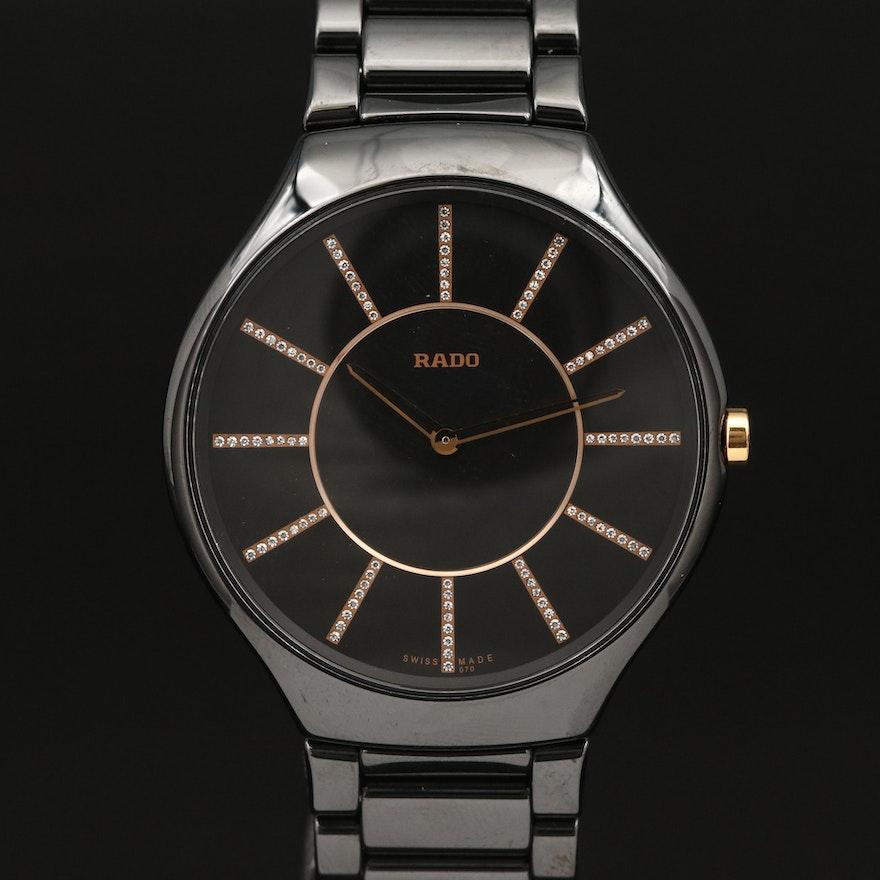 """Rado """"True Thinline"""" Diamond Dial and Black Ceramic Quartz Wristwatch"""