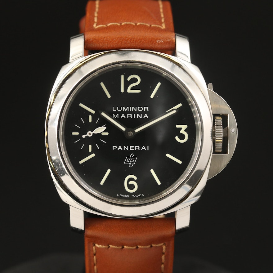 "Panerai ""Luminor Marina"" Logo Stainless Steel Wristwatch"