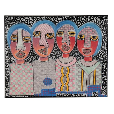 "Kayode Buraimoh Mixed Media Painting ""Gathering of Genius,"" 21st Century"